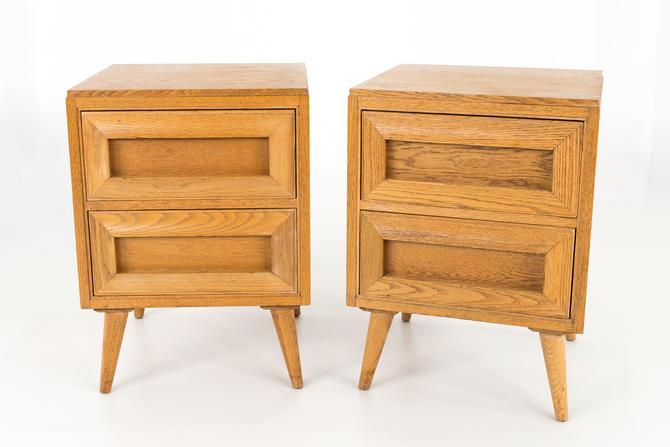 Rway Mid Century Blonde Wood Nightstands - Matching Pair - mcm by ModernHill