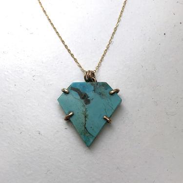 Diamond Shaped Turquoise Prong Pendant in 14k Goldfill by RachelPfefferDesigns