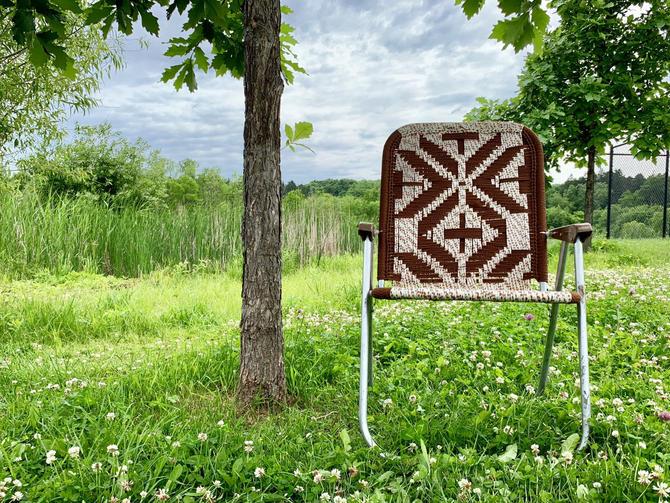 Macrame Lawn Chair | Folding Lawn Chair | Webbed Lawn Chair | Woven Lawn Chair | Outdoor Furniture by PiccadillyPrairie