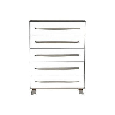 Lacquered Grey & White Painted Tall Dresser by 2bModern