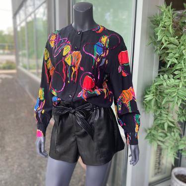 MARGARETHA LEY Vintage 1990s 100% Silk Button-Front Long Sleeve Blouse - Colorful Rainbow Zebra Print with Sequin Ribbon - Size 38 - Large by AIDSActionCommittee