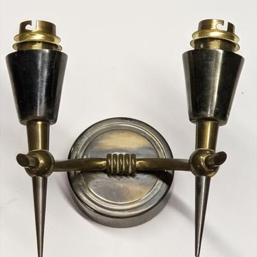 Pair of bronze and patinated two-branch sconces (#1620)