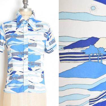vintage 70s top disco shirt blue art nouveau print pointy dagger collar blouse S clothing by huncamuncavintage