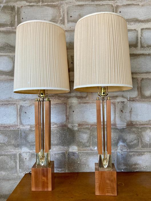 Pair of MCM Wood & Gold Table Lamps