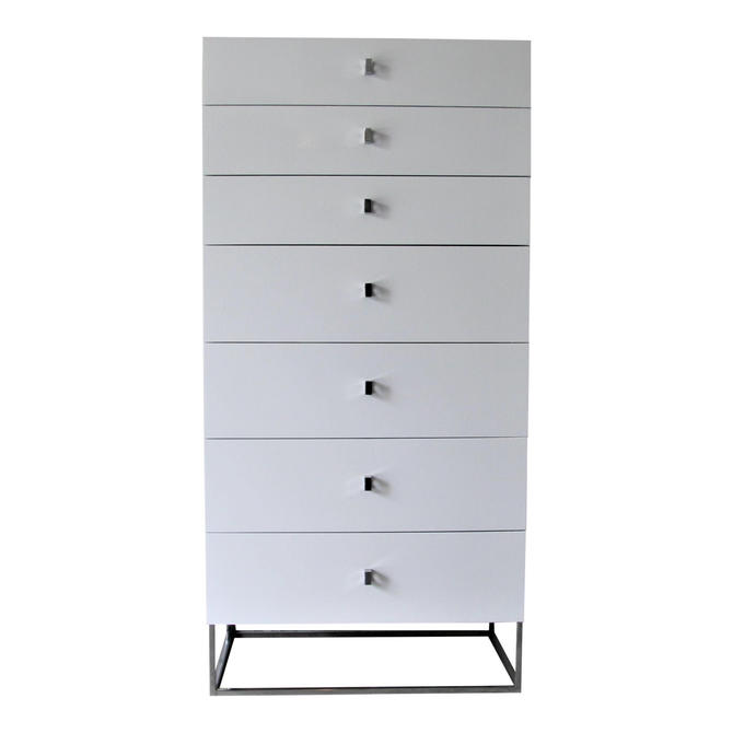 Rougier Mid Century Modern White and Chrome Dresser by WrightFindsinMCM