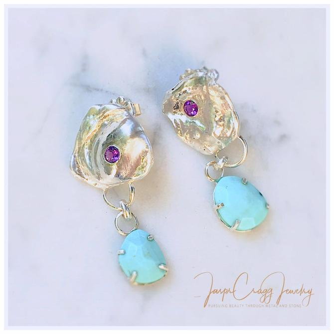 Water cast Argentium 935 silver, post style earrings. Faceted Turquoise and Amethyst embellished. by JasprCraggJewelry