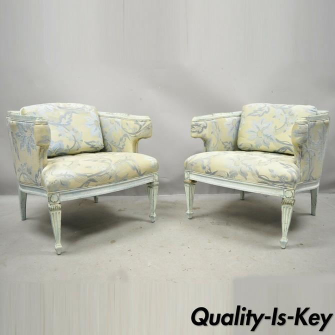 Vintage French Provincial Louis XVI Blue & Cream Painted Club Chairs - a Pair