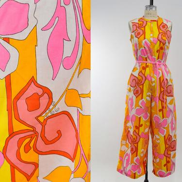 Vintage 1960s Bright Psychedelic Print Jumpsuit by Kay Noble, 60s Floral Print Jumpsuit, Vintage Mod, Psychedelic Groovy, Size Sm/Med by MobyDickVintage