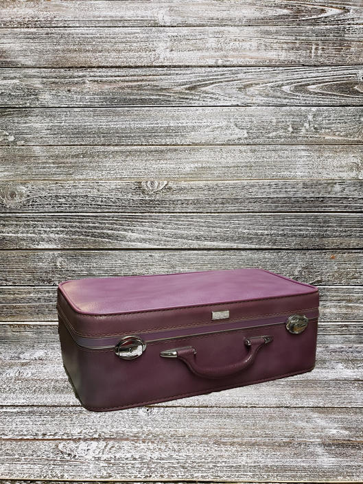 Vintage Amelia Earhart Suitcase, Marble Purple Antique Luggage, Baltimore Luggage Co, Mid Century Modern, Vintage Vacation, Vintage Luggage by AGoGoVintage
