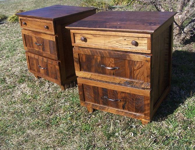 Rustic Oak Nightstand with 3 Drawers by BarnWoodFurniture