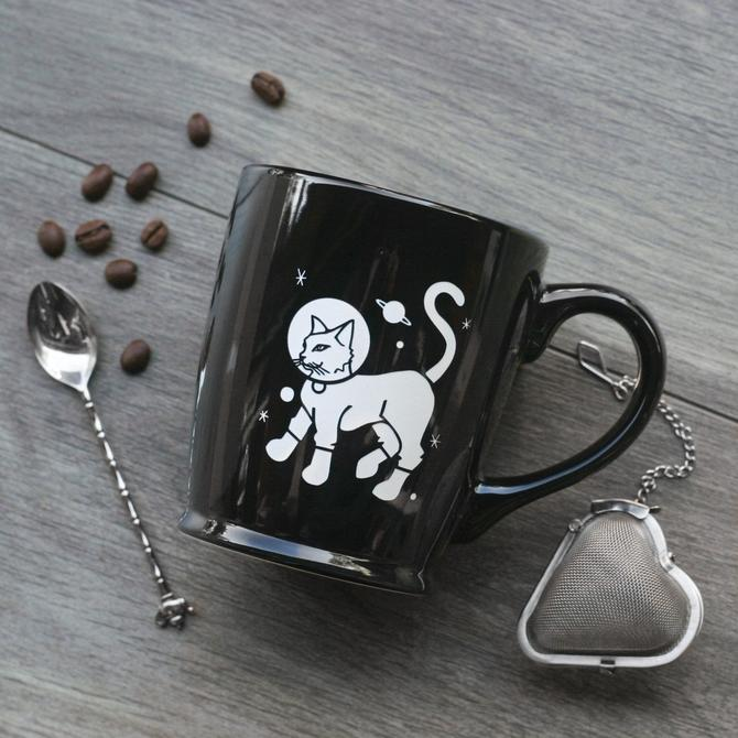Astronaut Cat Space Mug - standard or speckled camp mug styles by BreadandBadger
