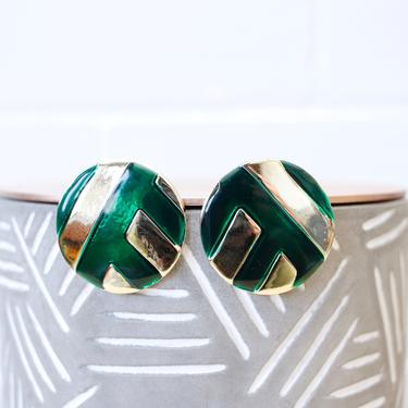 Vintage 1980s Big Statement Earrings - Mod Green & Gold Round Metal Enamel Large Earrings by SecondShiftVintage