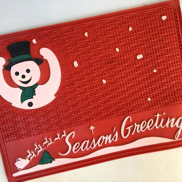 Vintage Christmas Snowman Door Mat, Mid Century Season's Greetings Entryway Mat, Red Rubber Holiday Welcome Mat by luckduck