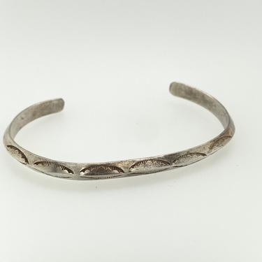 Vintage Navajo Sterling Silver Stamped Cuff Bracelet Southwestern by HouseofVintageOnline