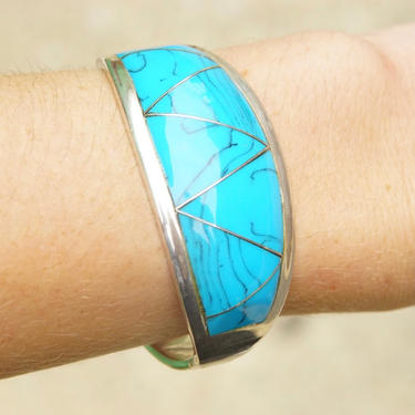 """Vintage TAXCO 950 Modernist Sterling Silver Turquoise Cuff, Gorgeous Turquoise Inlay Bracelet, Hinged Silver Gemstone Cuff, 6 1/2"""" L by shopGoodsVintage"""
