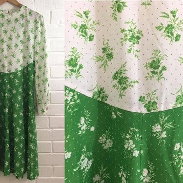 Vintage Green Floral Dress A-Line Flowers Kelly Emerald White Gold Buttons Mod MCM 60s 1960s Design Long Sleeve Women's Large L XL by CheckEngineVintage