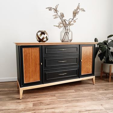 Two-Tone Mid-Century Modern Sideboard Buffet by madenewdesignct