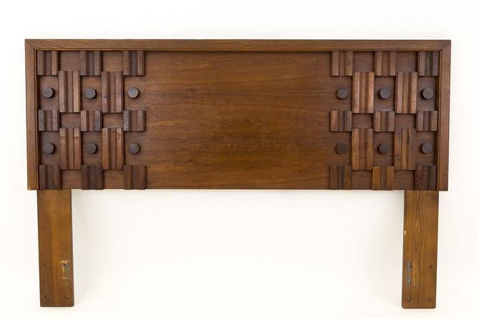Paul Evans Style Mid Century Queen Size Walnut Brutalist Headboard - mcm by ModernHill