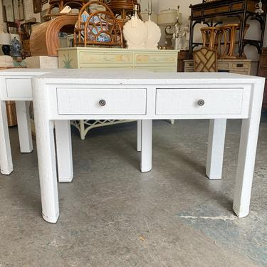 Pair of Painted Seagrass Wrapped Side Tables