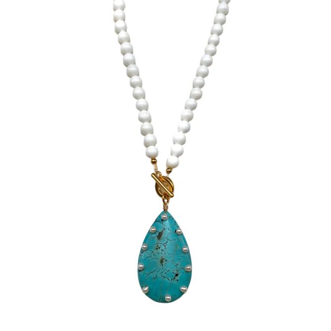 Pearl Studded Turquoise Necklace