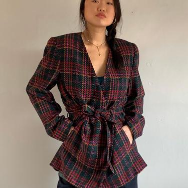 80s Pendleton houndstooth belted wool blazer  / vintage tartan plaid wool double breasted plunging collarless belted blazer jacket   L by RecapVintageStudio