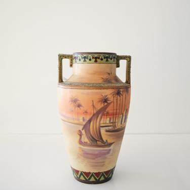 Antique Nippon Moriage Hand Painted Vase with Egyptian Sunset Scene by ShopLantanaLane