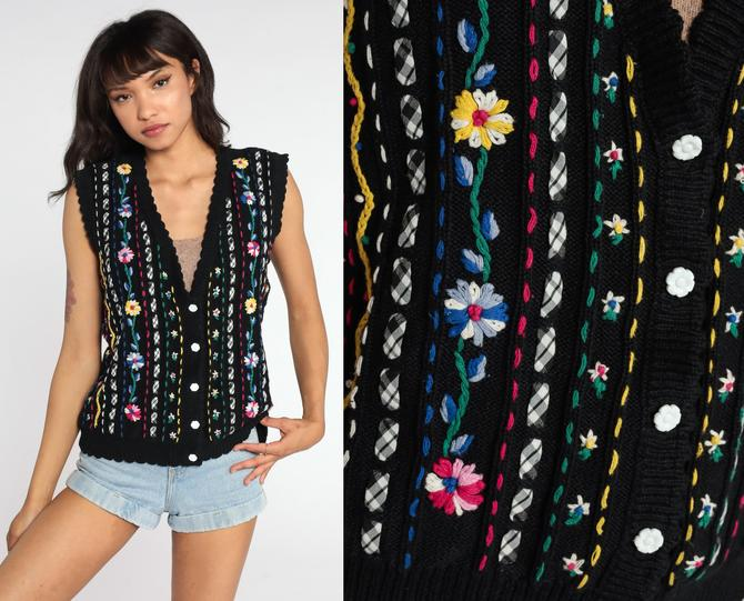 Floral Sweater Vest Top 90s Vest Floral Tank Top Black Embroidered Knit Shirt Retro Sleeveless Sweater 80s Vintage Button Up Medium by ShopExile