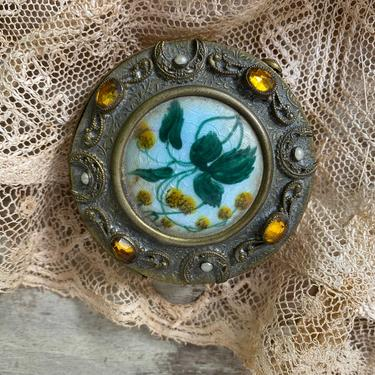 Vintage Enamel Guilloche Gem Encrusted Compact, Gold Tone With Enamel Floral Design, Yellow Rhinestones, Vanity Table by luckduck