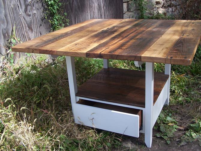 Reclaimed Wood Kitchen Table with Storage Base by BarnWoodFurniture