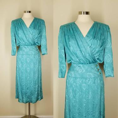 Vintage 90s Cocktail Dress, Medium / Turquoise Blue Pleated Dress / Floral Jacquard Dress / Glam 1990s Secretary Dress / Silky Blouson Dress by SoughtClothier
