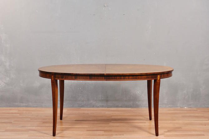 """""""Grand Palais"""" Drexel Heritage Walnut Dining Table with 2 Leaves – ONLINE ONLY"""