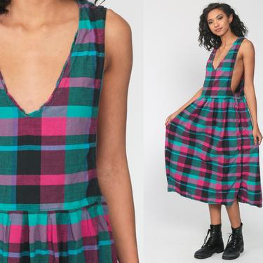 Bright Plaid Dress Pink Turquoise 80s Jumper Dress Midi Pinafore Women DEEP V Neck Side Button 90s Checkered Vintage Small Medium Large by ShopExile