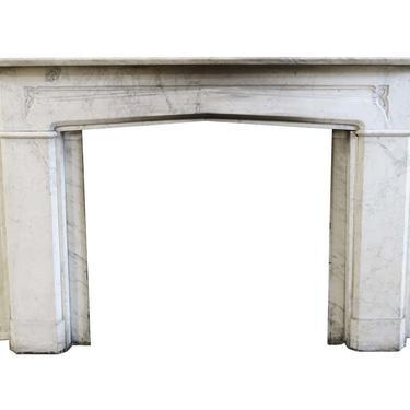 Simple Tudor Carrara Marble Gothic Revival Mantel