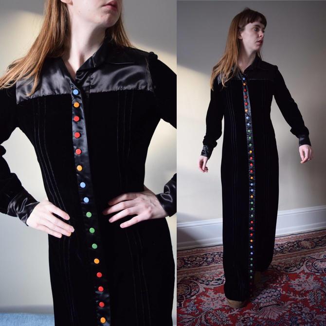 40s Rare Velvet Dressing Gown 30s Noir Early Plastic Candy