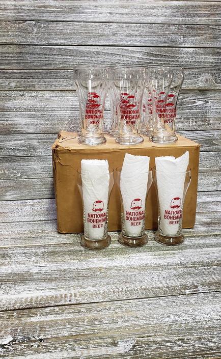 1940's Vintage Natty Boh Glasses, Vintage Winking Mr. Boh Glasses, 12 NOS National Bohemian Hofbrau Beer Glasses, Baltimore, Vintage Barware by AGoGoVintage