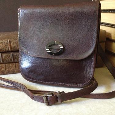 Antique Woody Brown Leather Crossbody Messenger Document Carrier Handbag ~ Bakelite by JansVintageStuff