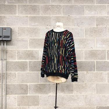 Vintage Coogi Sweater Retro Unisex Size M Black + Red + Yellow + Blue Knit Long Sleeve Crew Neck Pullover Australia Fall Winter Fashion by RetrospectVintage215