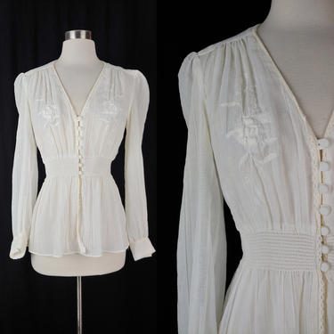 Vintage Seventies White Button Front Prairie Top - 70s Long Sleeve Embroidered Smocked Waist Blouse - Small Gunne Sax Style Shirt by JanetandJaneVintage