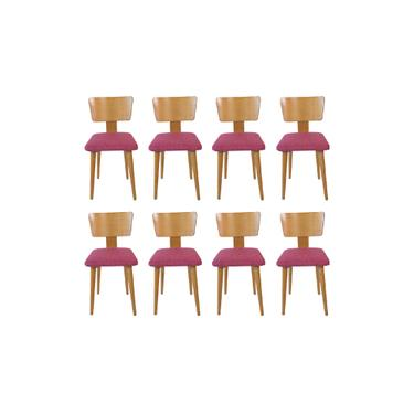 Set of 8 Tiger Maple Dining Chairs
