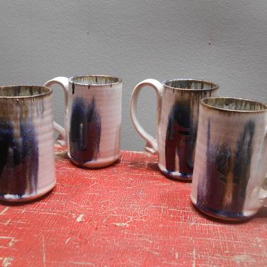 Vintage Handmade Studio Art Pottery Mugs Set 4 Four Blue Coffee Cups Signed Artist Hand Thrown Blue Gray Drip Glaze Earth Tones Pottery Art by kissmyattvintage