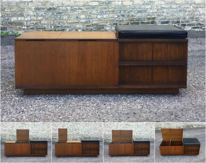 Mid-century Walnut Storage Bench