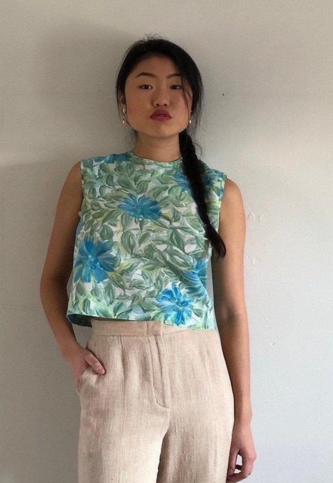 60s cotton sleeveless blouse / vintage aqua watercolor floral button back sleeveless crop top blouse   XS S by RecapVintageStudio