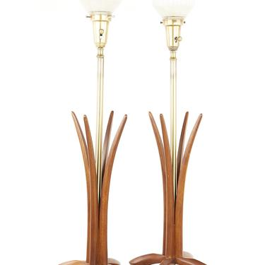Mid Century Walnut and Brass Table Lamps - A Pair - mcm by ModernHill