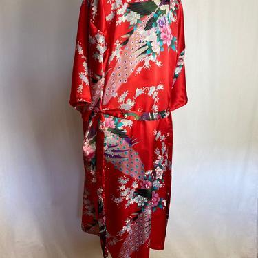 80's Satin robe~ VTG Red Asian floral peacock print~ cheongsam silky slinky kimono inspired boho robe with sash belt & pockets~ size Medium by HattiesVintagePDX