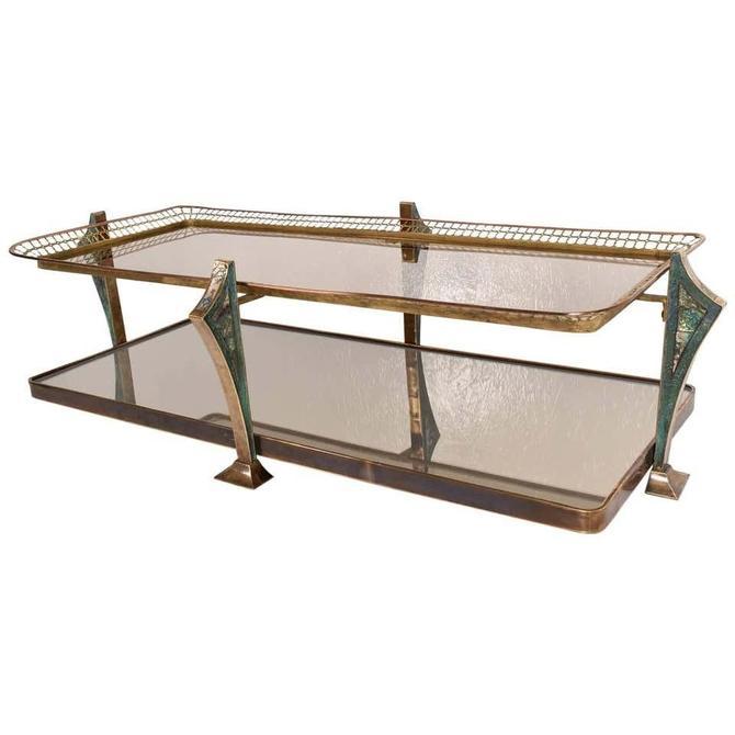Artistic Brass Malachite Glass Coffee Table PEPE MENDOZA Modernism Mexico 1950s by AMBIANIC
