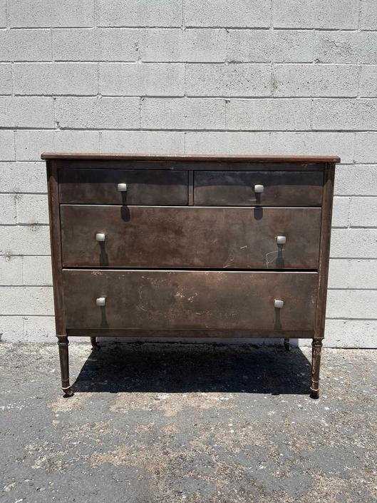 Antique Metal Dresser Simmons Rustic Chest of Drawers Furniture Bedroom Storage American Traditional Primitive Vintage CUSTOM PAINT AVAIL by DejaVuDecors