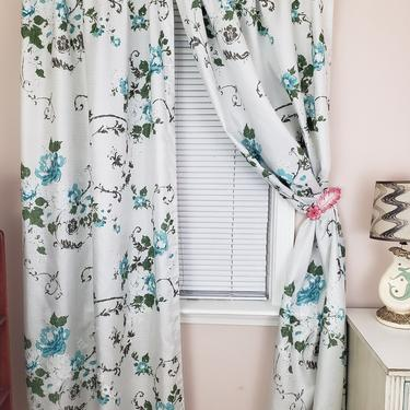 Vintage 1960's Pinch Pleat Curtains / 60s Blue Floral Print Fiberglass Drapes / 2 Panels by SilhouettetsyVintage