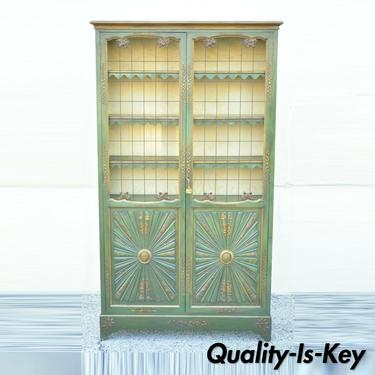 English Chinoiserie Green Distress Painted Tall George III Curio Display Cabinet