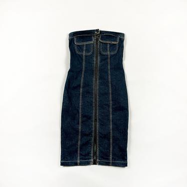 90s Plein Sud Stretch Denim Tube Dress / Zip Front / Two Way Zipper / y2k / Jean / 00s / Strapless / Size 8 / Medium / Millenium / Pockets by shoptrashdotnet