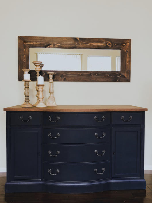 Refinished Navy Blue Buffet Sideboard